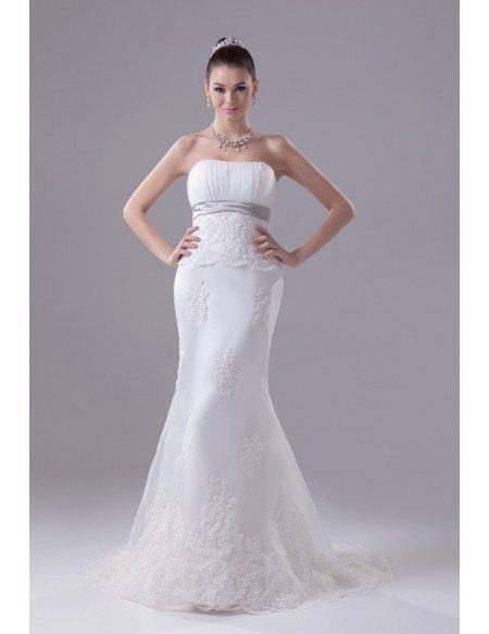 Strapless Empire Waist Mermaid Organza Lace Wedding Dress