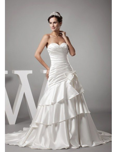 Sweetheart Pleated Satin Layered Mermaid Wedding Dress With Bow Oph1155 221 3 Gemgrace Com