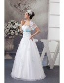 White and Blue Colored Sequins Tulle Wedding Dress with Jacket