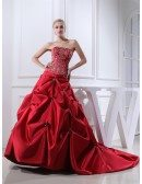 Red Strapless Embroidery Pickups Color Wedding Dress