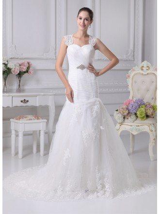 Beautiful Lace Straps Sheath Mermaid Tulle Train Length Wedding Dress