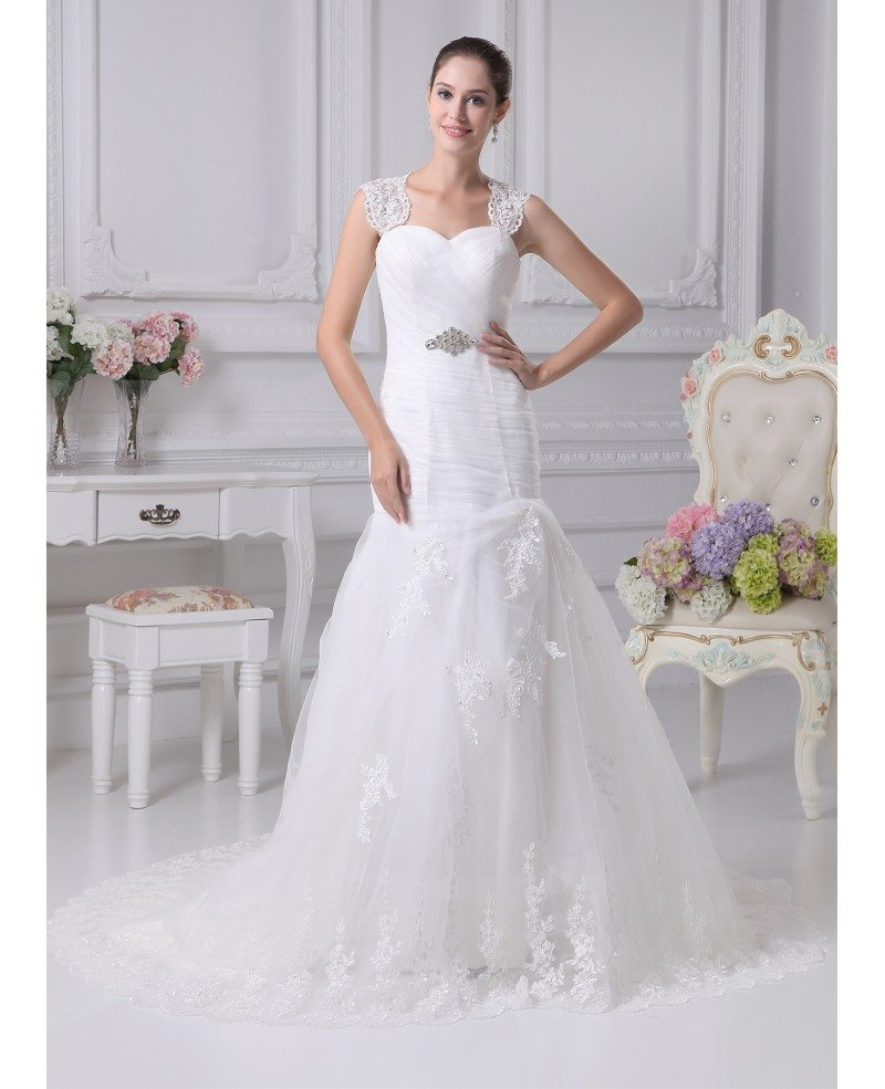 Lace Mermaid Wedding Gown With Straps: Beautiful Lace Straps Sheath Mermaid Tulle Train Length