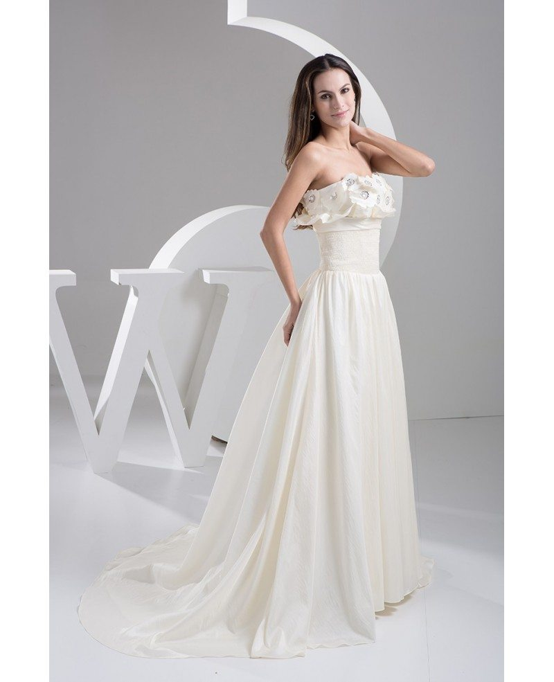 Aline Wedding Gown: Strapless Handmade Flowers Aline Colored Wedding Dress