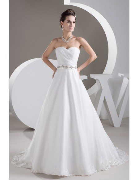 Aline Lace Trim Sweetheart Wedding Dress with Beaded Crystals