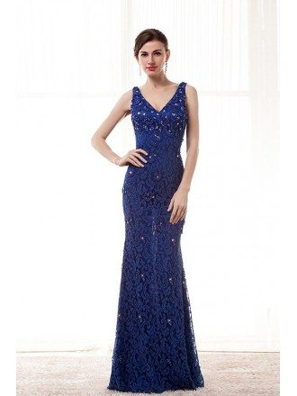 Sheath V-neck Floor-length Lace Prom Dress With Beading