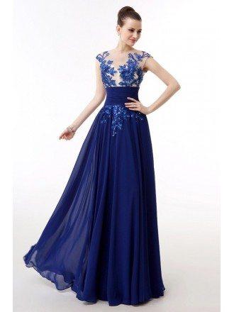 Tank Top Lace Chiffon Floor Length Cap Sleeve Dress