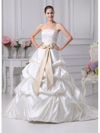 Classic Beaded Taffeta Strapless White with Champagne Sash Wedding Dress