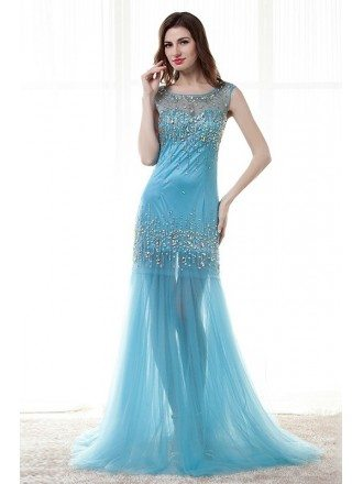 Mermaid Scoop Neck Sweep Train Chiffon Prom Dress With Beading