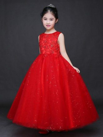 Long Shining Embroidered Hot Red Ballroom Tulle Pageant Dress