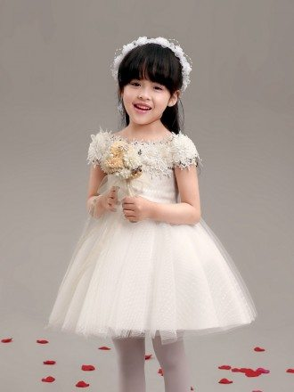 Short Red Gauze Flower Girl Dress with Lace Wrap Shoulders