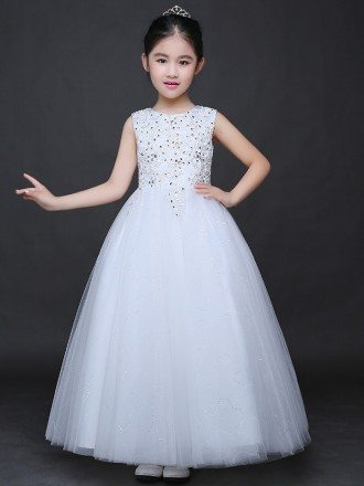 Long Shining Beaded Embroidery Ballroom Tulle Pageant Dress