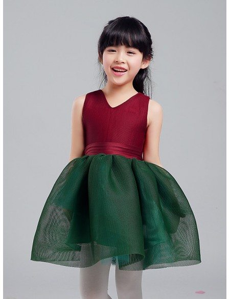 Green and Red Mesh Gown Pageant Dress for Little Girls