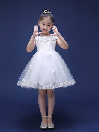 Short White Lace Tulle Bow Back Flower Girl Dress with Cap Sleeves