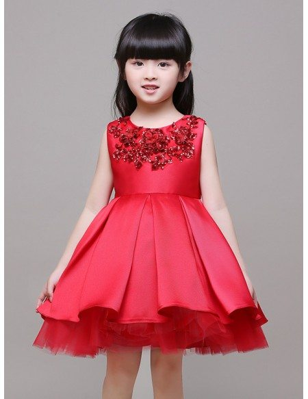 Ball Gown Satin Beaded Short Red Flower Girl Dress