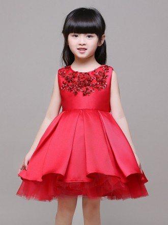 Ball Gown Satin Beaded Short Red Flower Girl Dress