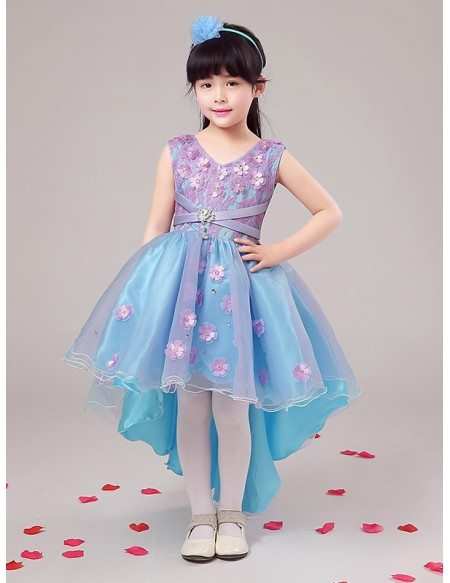 Blue and Lavender Organza Lace Floral Pageant Dress