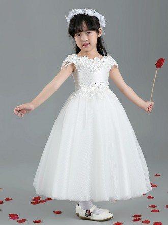 Long Gauze Lace Flower Girl Dress with Wrap Shoulders