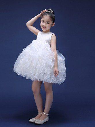 Short Bubble Sequins Lace Flower Pageant Dress for Little Girls