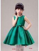 Simple Black Short Taffeta Flower Girl Dress
