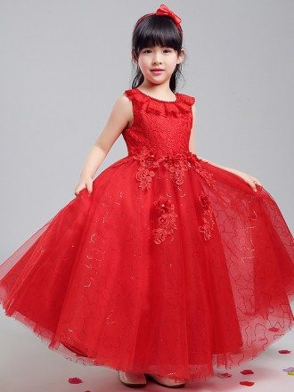 Tulle Sequined Long Red Ballroom Flower Girl Dress with Lace Bodice