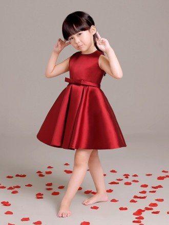 Simple Burgundy Taffeta Short Flower Girl Dress