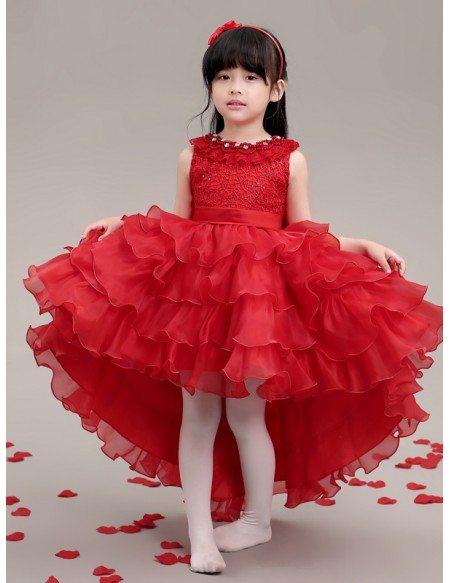High Low Cascading Hot Red Lace Pageant Dress with Crystal Neck