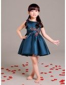 Navy Blue Short Flower Girl Dress with Applique in Front