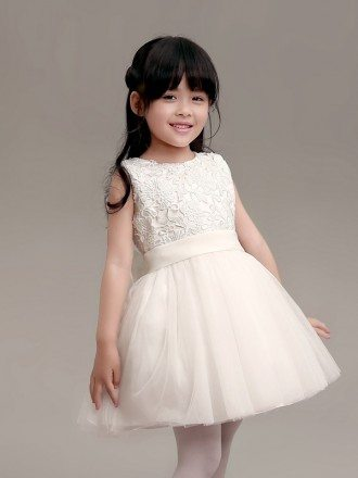 Simple White Tulle and Lace Flower Girl Dress in Short Length