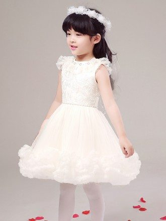 Fairy Short White Crystal Lace Pageant Dress with Bubble Hem