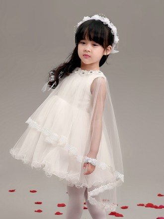 Fairy Short A Line Flower Girl Dress with Lace Veil