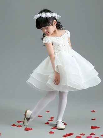 Cap Sleeve Layered Organza Short Flower Girl Dress with Lace Beaded Bodice