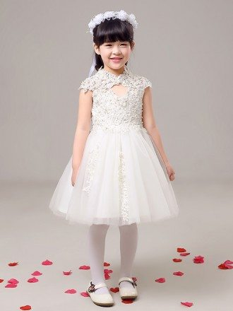 Lace Tulle Short Beaded Flower Girl Dress with High Neck