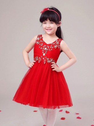 Hot Red Pleated Tulle Short Pageant Dress with Beaded Bodice