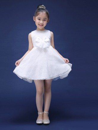 Little White Simple Lace Flower Girl Dress with Sash