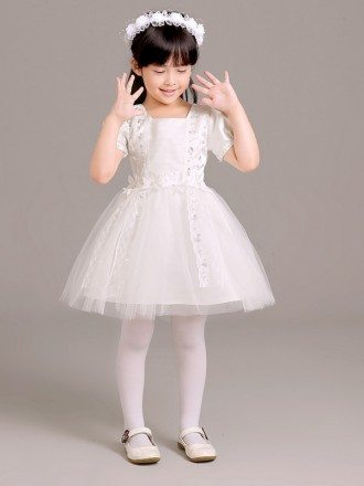 Short Sleeved Lace Tulle Folded Pageant Dress for Little Girls
