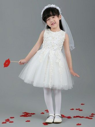 Short Tulle Beaded Lace Flower Girl Dress with Sleeves