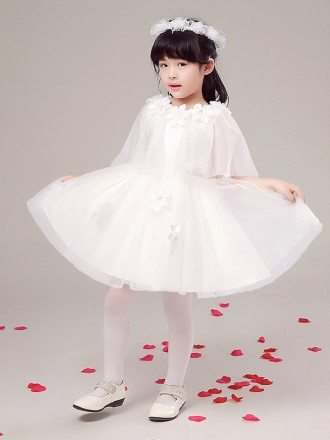 Short Tulle Floral Pageant Dress with Cover