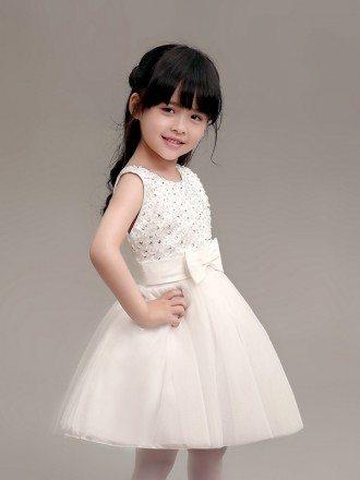 Simple Tulle Short Flower Girl Dress with Beaded Bodice