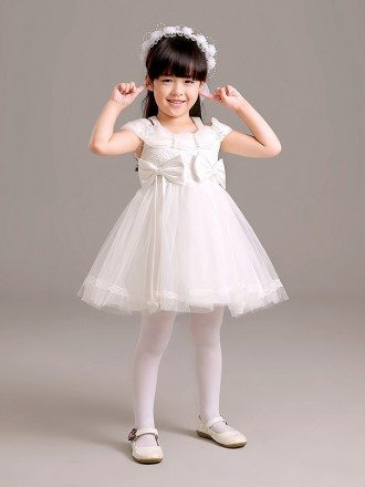 Short Tulle Lace Bow Pageant Dress with Wrap Shoulder