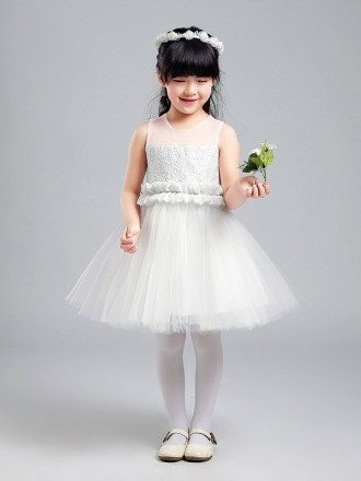 Simple Tulle Lace Flower Girl Dress with Folded Waist