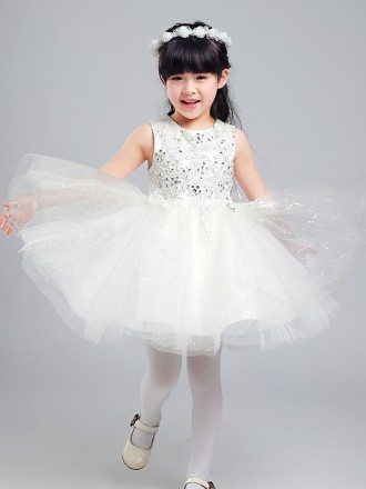 Ballroom Short Sequined Flower Girl Dress with Lace Beaded Bodice