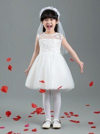 Short Simple Tulle Lace Flower Girl Dress