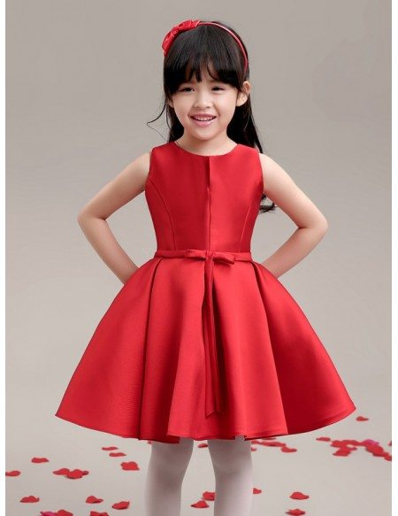 Hot Red Simple Satin Flower Girl Dress
