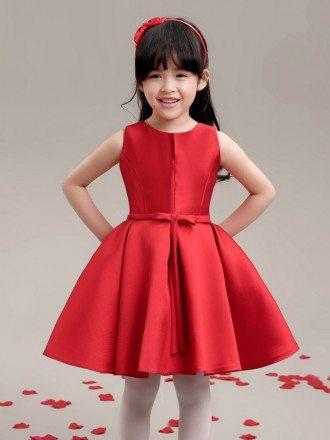Hot Red Simple Satin Flower Girl Dress