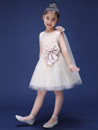 Tulle Beaded Short Fairy Flower Girl Dress with Bows