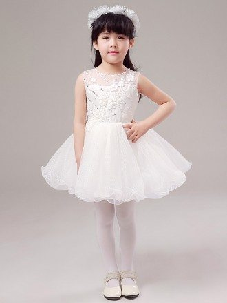 Short Bubble Lace Beaded Mesh Pageant Dress For Little Girls