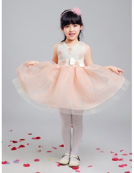 Special Gauze Pink and Grey Pageant Dress with Floral