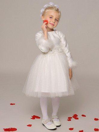 Sleeved Short Lace Mesh Flower Girl Dress for Winter Wedding