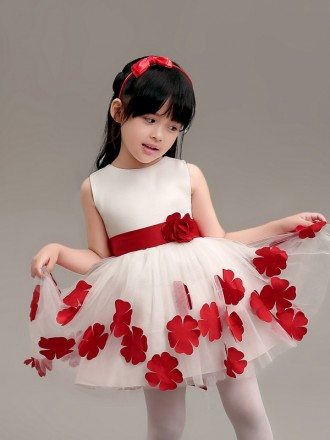 White with Red Flowers Short Tulle Pageant Dress with Sash