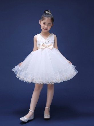 Tulle Lace Beaded Short Sweetheart Flower Girl Dress with Sash